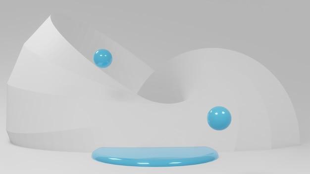 Cena do pódio com cor branca azul para exposição do produto