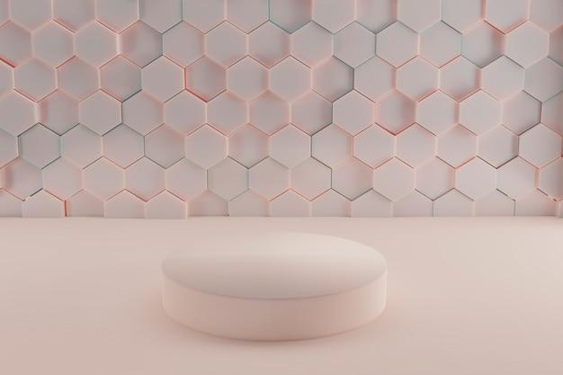 Cena do pódio em cor pastel. fundo de forma de geometria para o produto. renderização 3d Foto Premium