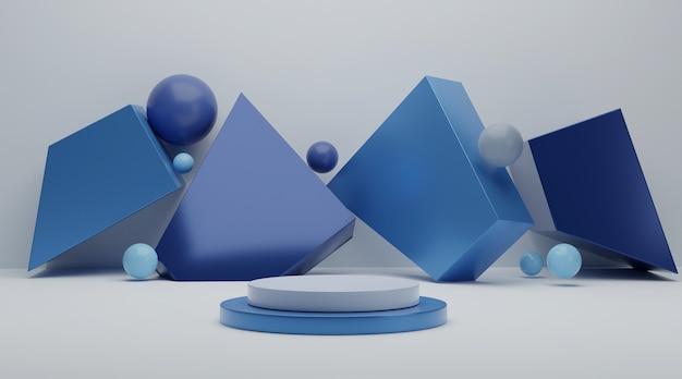 Cena do pódio geométrico azul para exposição do produto.