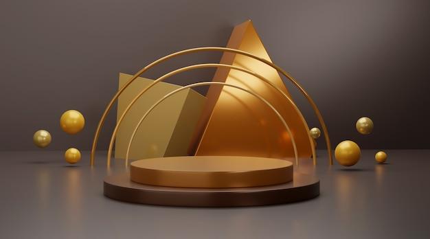 Cena do pódio geométrico dourado para exposição do produto.