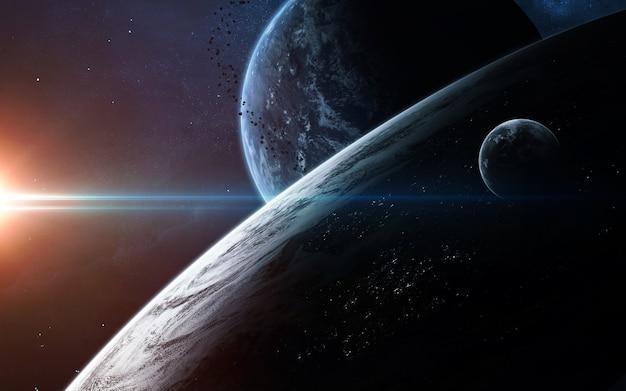 Cena do universo com planetas, estrelas e galáxias no espaço sideral, mostrando a beleza da exploração espacial.