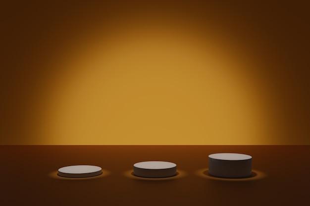Cena escura de modelagem em 3d com pódios cilíndricos iluminantes em um fundo laranja