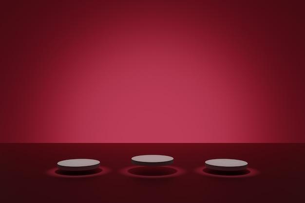 Cena escura de modelagem em 3d com pódios cilíndricos iluminantes em um fundo rosa