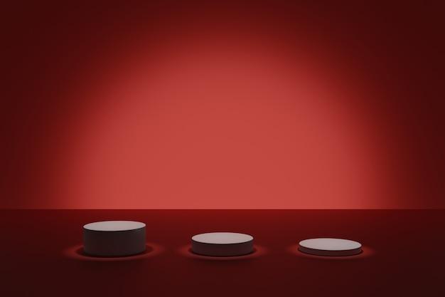 Cena escura de modelagem em 3d com pódios cilíndricos iluminantes em um fundo vermelho
