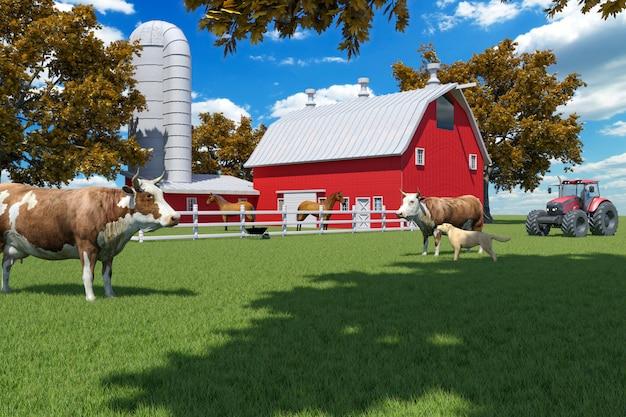 Cena fazenda, com, vermelho, celeiro, e, cultive animais, 3d, fazendo
