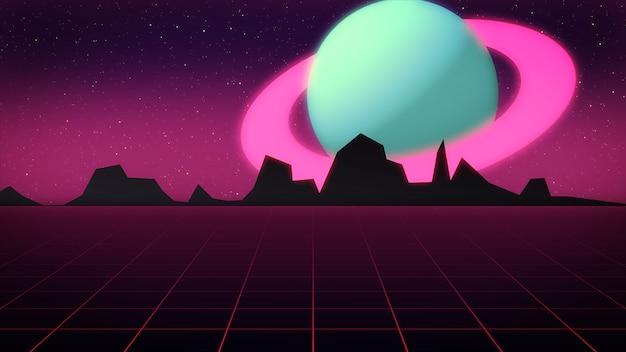 Cena futurista retrô com planeta