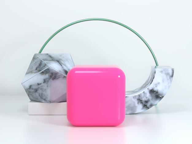 Cena geométrica branca rosa cubo forma semicírculo textura de mármore em branco pódio renderização em 3d