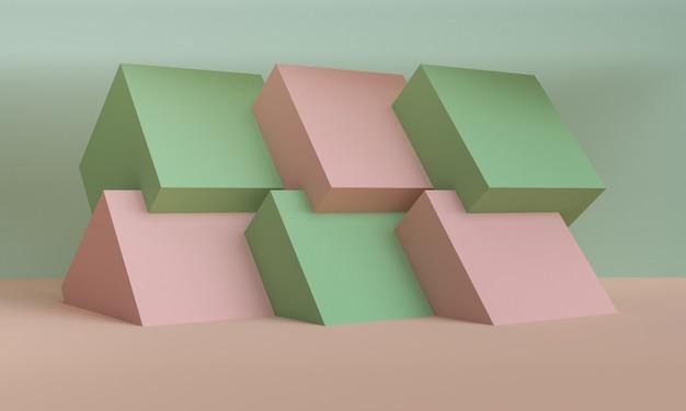 Cena geométrica da forma estilo mínimo, rendição 3d.