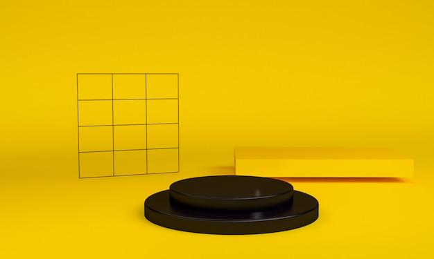 Cena geométrica mínima da forma, rendição 3d.