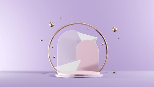 Cena geométrica mínima, pódio de cosméticos com esferas metálicas. renderização 3d de vista frontal.