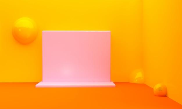 Cena geométrica minimalista mínima, rendição 3d da forma.