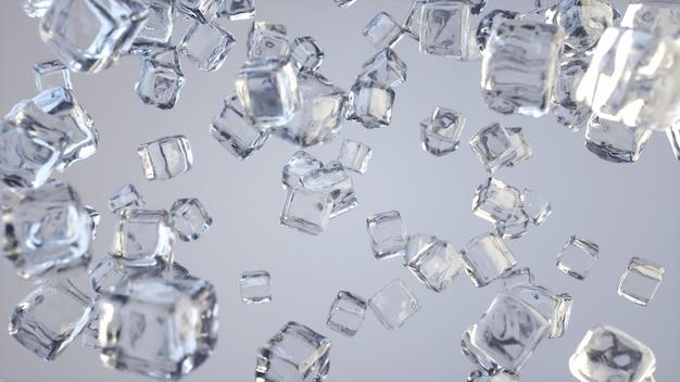Cena incrível de cubos de gelo caindo
