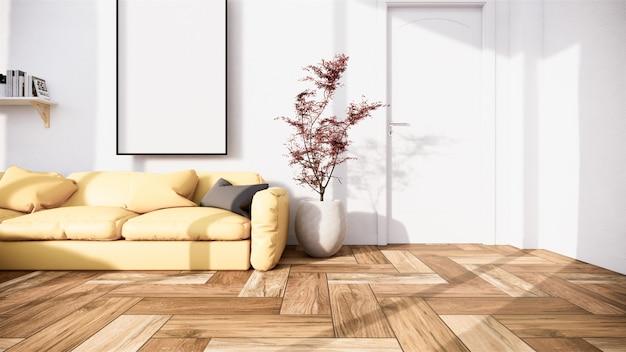 Cena interior mock-se com sofá amarelo e decoração no minimalismo da sala. renderização em 3d