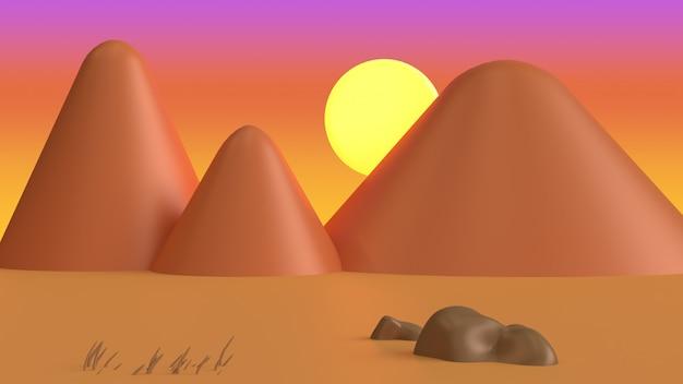 Cena laranja abstrato montanha pôr do sol estilo cartoon renderização em 3d