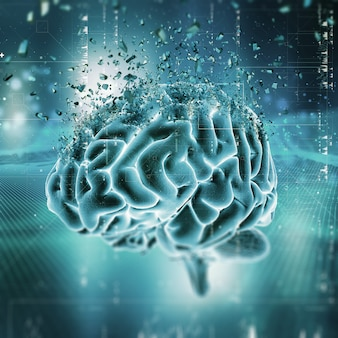 Cena médica 3d mostrando um cérebro quebrando