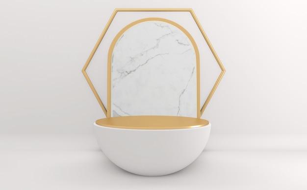 Cena mínima abstrata branca com formas geométricas pódio mínimo geométrico. renderização 3d