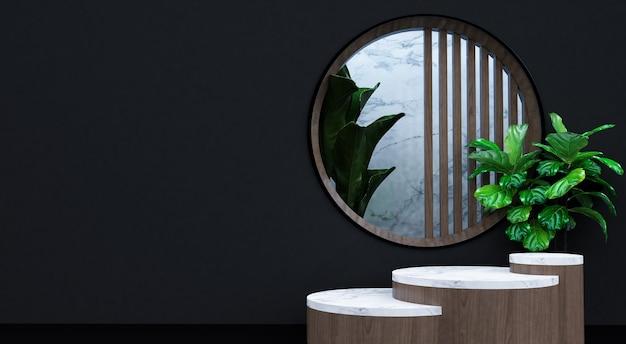Cena mínima abstrata com formas geométricas. mostrar produto cosmético, pódio, pedestal de palco ou plataforma. visor de pódio 3d de madeira com sombra de folha. 3d render