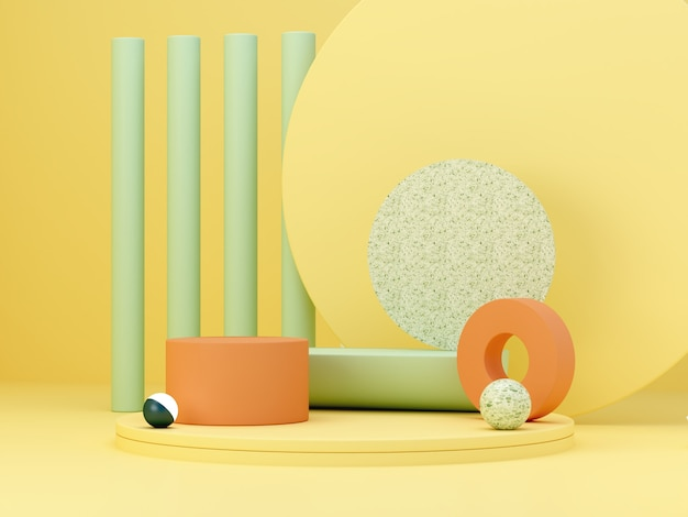 Cena mínima abstrata com formas geométricas. pódios do cilindro nas cores amarelos, verdes e laranja. abstrato. cena para mostrar produtos cosméticos. vitrine, montra, vitrine. 3d rendem.