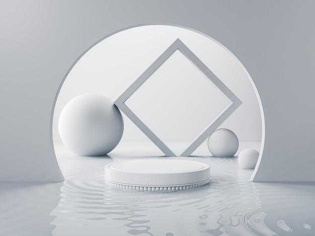Cena mínima abstrata com pedestal de palco de exibição de pódio ou plataforma em fundo branco para apresentação de produtos cosméticos Foto Premium
