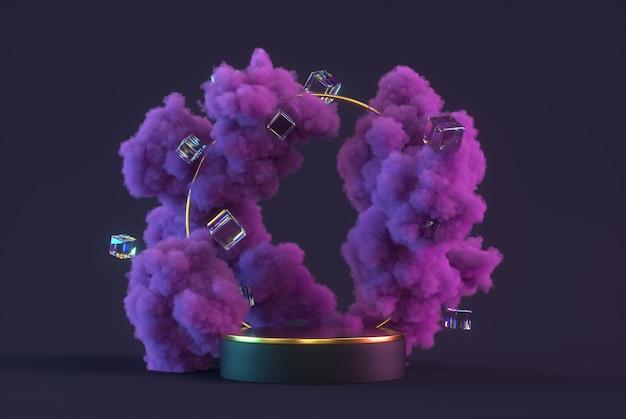 Cena mínima abstrata do pódio 3d com nuvens roxas, cubos brilhantes e pedestal. faça uma simulação para a apresentação do produto. ilustração 3d render.
