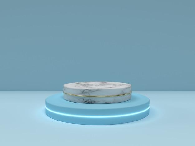 Cena mínima abstrata do pódio da textura do azul e do mármore. maquete para apresentação do produto com espaço de cópia. ilustração 3d render.