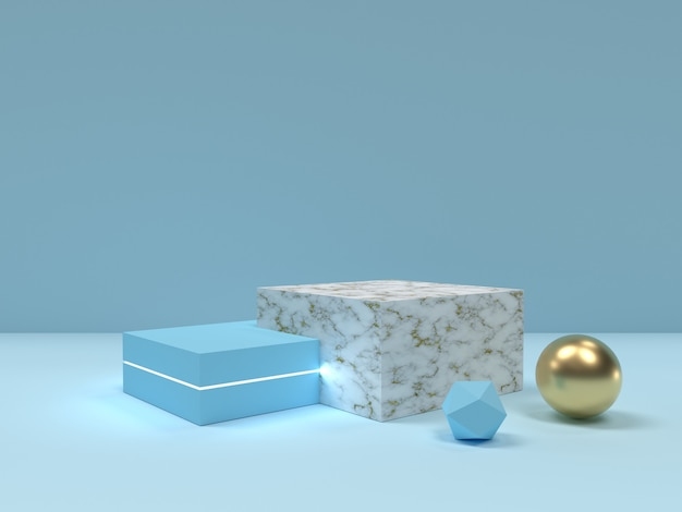 Cena mínima abstrata do pódio da textura do azul e do mármore.