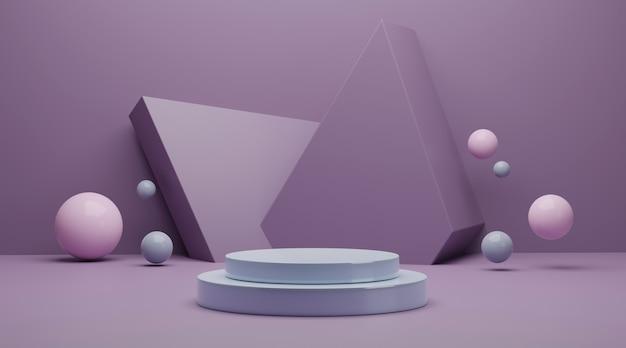 Cena mínima com formas geométricas para renderização em 3d da exibição do produto.