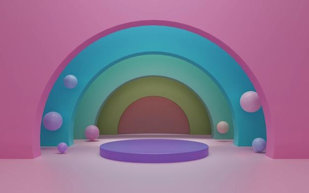 Cena mínima com formas geométricas para renderização em 3d de exibição de produto