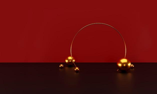 Cena mínima com formas geométricas. visor de pódio cilíndrico vermelho e bola dourada
