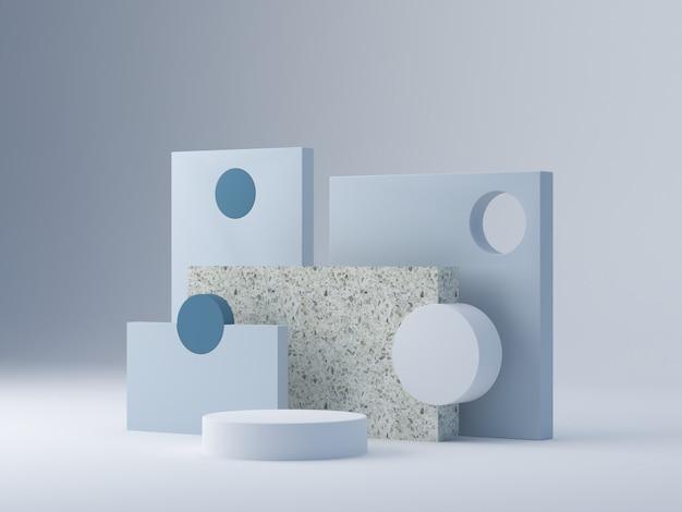 Cena mínima com pódio e abstrato com formas geométricas