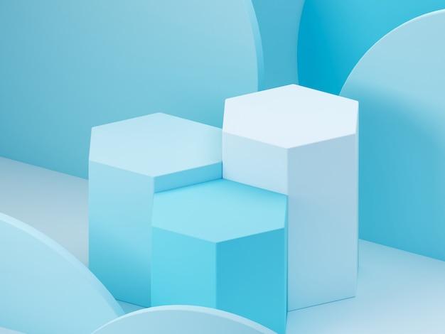 Cena mínima com pódio e abstrato. forma geométrica. cena azul cores pastel. renderização 3d mínima. cena com formas geométricas e fundo azul. 3d rendem.