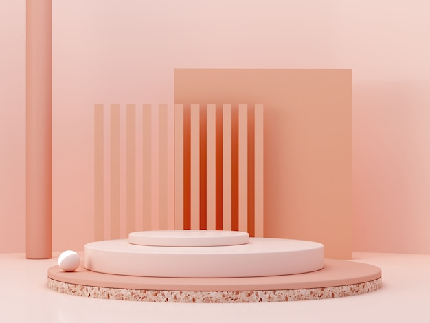 Cena mínima com pódio e abstrato. formas geométricas. cena de cores pastel. renderização 3d mínima. cena com formas geométricas e plano de fundo texturizado para produto cosmético. 3d rendem.