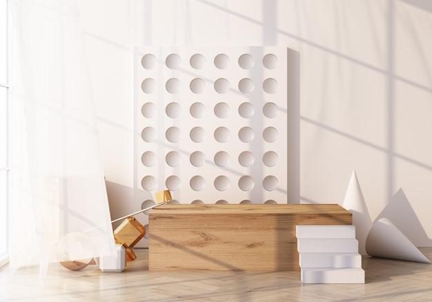 Cena mínima com pódio e fundo abstrato. cena de ouro e branco. na moda para banners de mídia social, promoção, show de produtos cosméticos. formas geométricas, textura de madeira, interior, renderização em 3d
