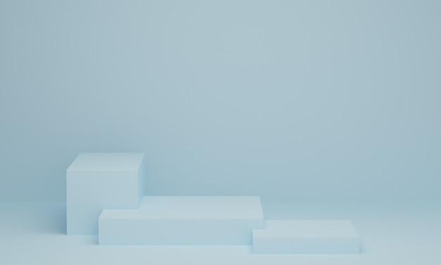 Cena mínima com pódio em fundo azul pastel. forma geométrica. cena abstrata com formas geométricas. renderização 3d.