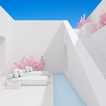 Cena mínima da arquitetura com sofá.