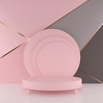 Cena mínima da rendição 3d com pódio. forma geométrica em tons pastel.