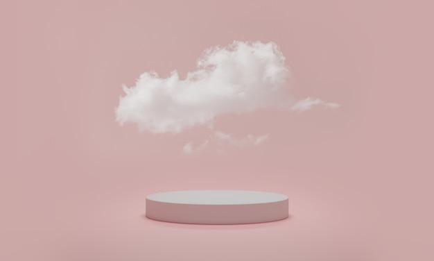 Cena mínima de pódio com nuvem em rosa pastel