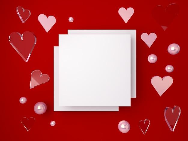 Cena mínima dos namorados 3d, corações românticos caindo. cena abstrata formas de ouro e vidro com espaço em branco