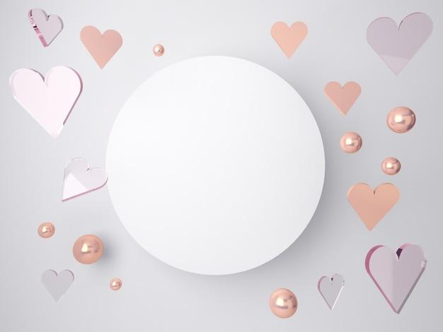 Cena mínima dos namorados 3d, corações românticos caindo. cena abstrata ouro rosa e formas de vidro com espaço em branco