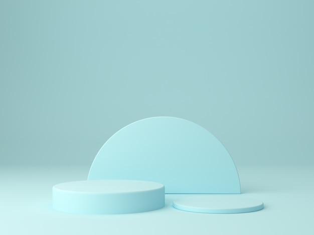Cena mínima em tons pastel de azul com dois pódios em fundo abstrato para mostrar um produto