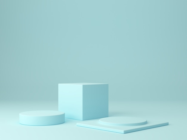 Cena mínima em tons pastel de azul com pódios de árvores em fundo abstrato para mostrar um produto