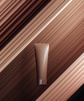 Cena monocolor para apresentação de produto cosmético bb-creme. frasco cosmético em fundo abstrato de pedestal de cor nude. renderização 3d.