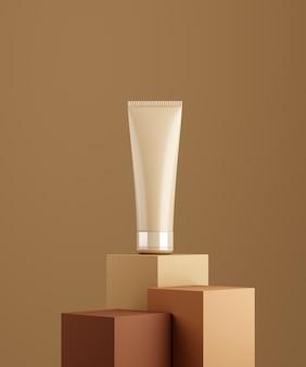 Cena monocolor para apresentação de produto cosmético bb-creme. frasco cosmético em fundo de pedestal nu. renderização 3d.