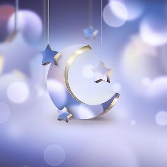 Cena noturna com lua crescente e estrelas