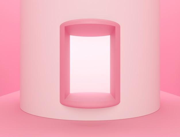 Cena para exposição de produto, fundo abstrato rosa
