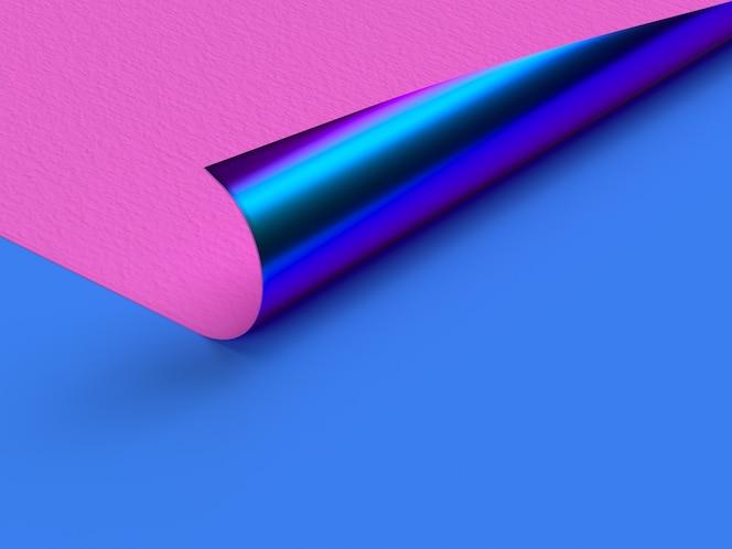 Cena plana de canto de curva metálica azul de papel rosa
