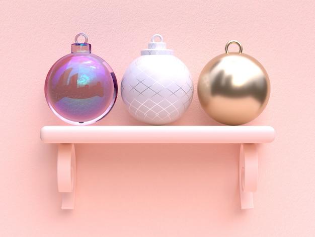 Cena plana rosa abstrata decoração de natal objeto renderização em 3d