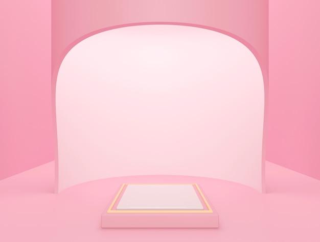 Cena premium para exposição de produtos, fundo abstrato rosa