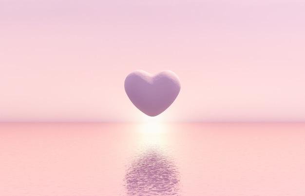 Cena romântica com forma geométrica do coração que flutua no mar com fundo claro do sol.