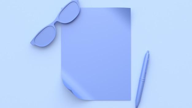Cena roxa-violeta abstrata todos os objetos em branco papel óculos caneta renderização em 3d
